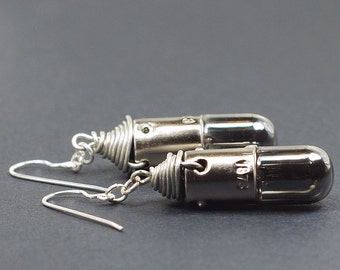 Steampunk Earrings- Silver Upcycled Burnt Out Light Bulb Earrings in Gunmetal, Steampunk Jewelry, Industrial Jewelry by Tanith Rohe