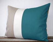16x20 Color Block Pillow in Teal, Cream and Natural Linen by JillianReneDecor -  Home Decor - Striped Trio - Custom
