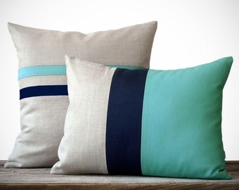 Colorblock Stripe Pillow Set - Mint & Navy Blue Striped Pillow (16x16) - Mint and Navy Colorblock Pillow (12x16) by JillianReneDecor