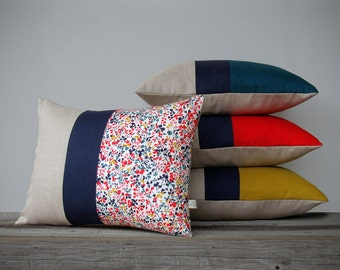 Modern Colorblock Pillow and Liberty Print Pillow Set (Set of 4) Modern Home Decor by JillianReneDecor - Mustard Poppy Teal - Fall Floral