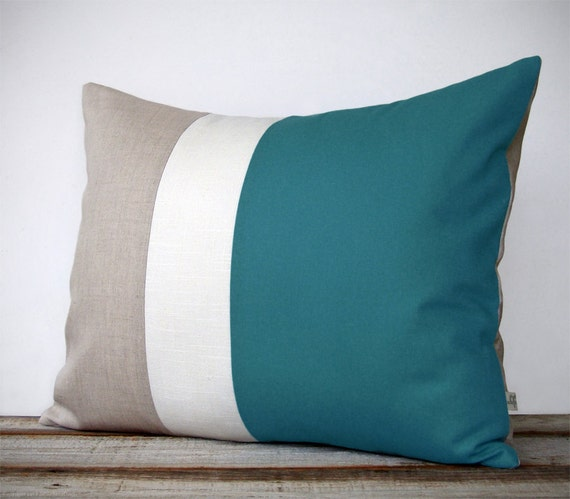 16x20 Color Block Pillow In Teal Cream And By Jillianrenedecor