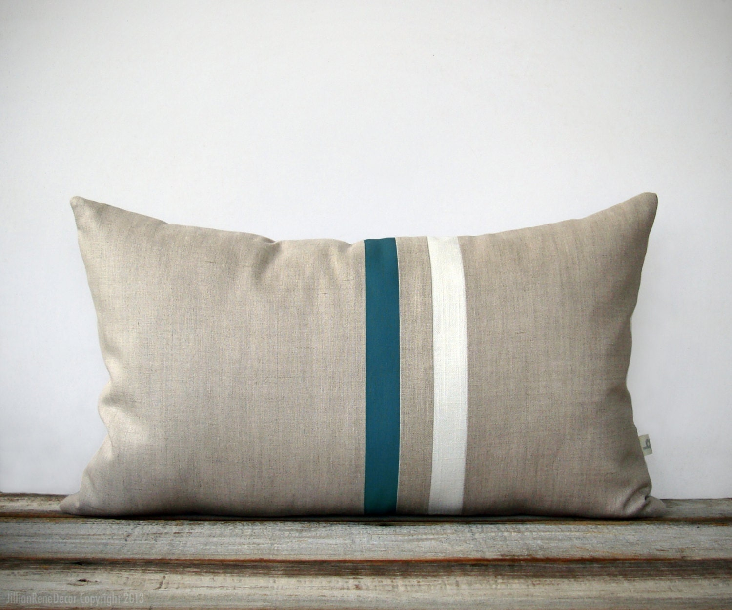 Teal and Cream Striped Lumbar Pillow 12x20 Modern Home Decor