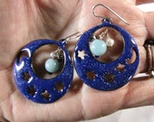 Midnight Blue Enamel Hoops with Amazonite, Pearl and Silver Beads