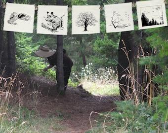 5 prayers for the Trees-garlands-Garden Parties-Entertaining-Garden Decor-Owl-Grizzly Bear-Geese-Fir Trees-Oak Tree-silk prayer flags