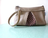 Brown Leather Clutch Wallet with Polka Dot Cotton Pleat, Wristlet, Small Purse, Womens Leather Wallet, Handmade Italian Leather Wristlet