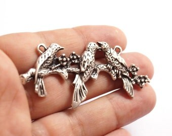 1 pc Matte Oxidized Silver Plated Base Kissing Bird  Pendant - Bird 70x30mm-(406-013SP)