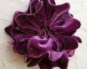 EGGPLANT PURPLE Velvet Ribbon Rose Fabric Sequin Beaded Flower Applique Hat Corsage Pin Baby Pageant Bridal Hair Accessory Applique