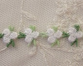Embroidered Rose Bud WHITE Flower Ribbon Trim Scrapbook Reborn Doll Quilt Sewing Couture