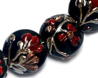 10205202 - Seven Copper Shadow Lentil Beads - Handmade Glass Lampwork