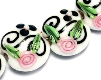 10107512 - Four Black & White w/Pink Flower Lentil Beads - Handmade Lampwork Beads