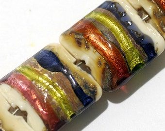 Glass Lampwork Bead Set - Four Multi-colored & Ivory Pillow Beads 11005614