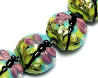 Four Purple Dragonfly Lentil Beads 10504412 - Glass Lampwork Bead Set