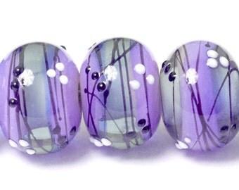 Six Lilac Tea Party Rondelle Beads - Handmade Glass Lampwork Bead Set 10604821