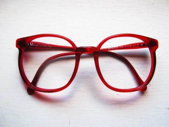 Oversized Red Peabody Eyeglass Frames Vintage 1970s Made