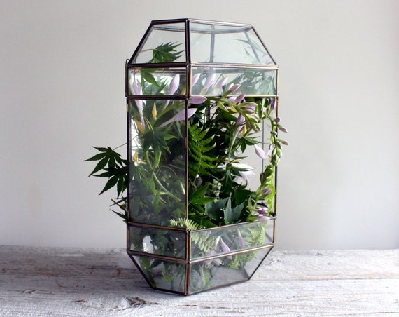 Large Vintage Glass And Mirror Terrarium