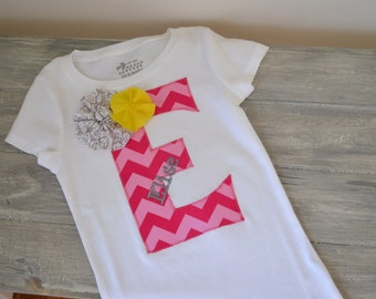 Chevron Letter Shirt with Name and Flowers- Choose Pink or Blue