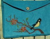 Songbird Messenger bag/ laptop bag in turquoise - original applique - Lazy Mare