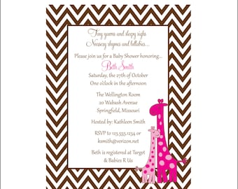 Giraffe Chevron Baby Shower invitation Personalized PINK (set of 10)