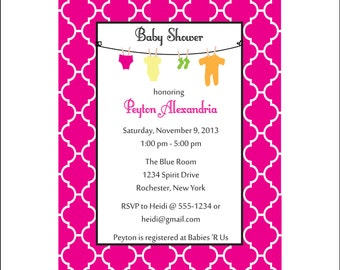 Baby shower invitation, Moroccan clothesline invitation (SET of 10)