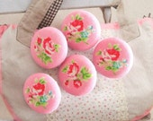 Fabric Buttons, Pink Red Rose Flower Fabric Covered Buttons, Retro Pink Flower Fridge Magnets, Flat Backs, 1 Inch 5's