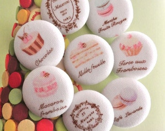 """Handmade Large White Pink Brown Macarons Cupcake Cake Pastry Food Fabric Covered Buttons, Food Cupcake Macarons Fridge Magnets, 1.2"""" 8's"""