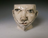 porcelain Face Mug with Beard Hand Thrown and Sculpted