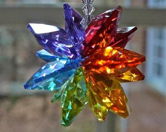 "Rainbow Colored Swarovski Crystal Cluster Suncatcher, Rainbow Maker, Light Catcher, Chakra Ornament, Prism, for Home Window - ""ALEXANDRA"""