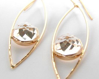 Crystal Quartz MARQUISE Earrings, Drop Earrings, handmade with recycled 14k Gold