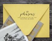 10 PERCENT OFF Wood Address Stamp - Wood Handle Stamp - cute wedding housewarming gift - e3001