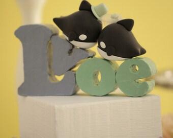 orca whale Wedding Cake Topper---k640