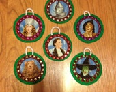 Upcycled Christmas Ornament Set Made With the Wizard of Oz Fabric (not a licensed product)