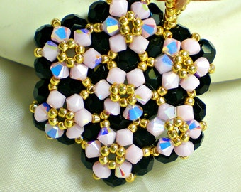 Swarovski Crystals Pink Black  Golden Pendant  Beadwoven Beaded Beadweaving Unique Jewelry Rose Opal