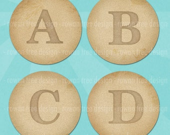 ANTIQUE PAPER ALPHABET Digital Collage Sheet 1.5in or 1in Circles Letters Initials - no. 0169