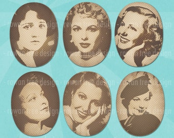 Vintage STARLETS and SIRENS 30x40mm Ovals Digital Collage Sheet Vintage Ladies Women - no. 0202