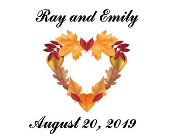 Wedding Water Bottle Labels Fall Leaf Heart Personalized 100 labels