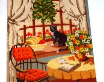 Vintage Needlepoint, Black Cat in Window, Orange  (525-13)