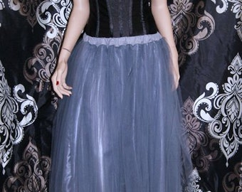 Formal Silver Colored Floor Length Tulle Skirt Adult All Sizes MTcoffinz
