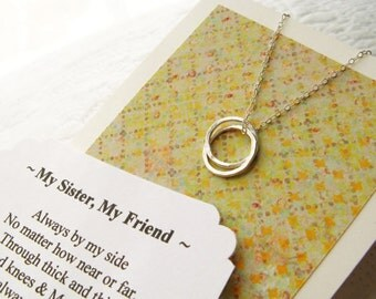 SISTER NECKLACE - Sisters Jewelry - POEM Included Sterling Silver Inseparable Rings Circles Gift Wrapped