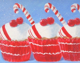 Original Painting CANDY CANE CUPCAKES Small Art Format by Rodriguez