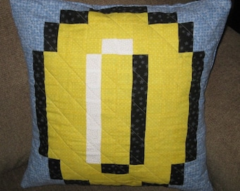 Yellow Coin Quilted Pillow Cover - free USA shipping