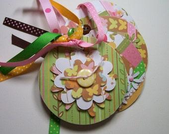 Mini Flower Album, Coaster Album, Flower Scrapbook, Flower Brag Book, Flower Photo Album, Premade Album, Mini Album, Pink and Green Album
