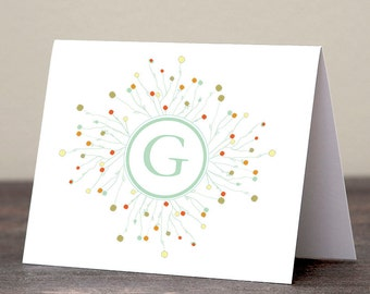 First Initial Monogram Stationery Set - 24 personalized foldover cards