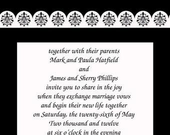 Wedding Invitations - Black and White Flourish Swirls