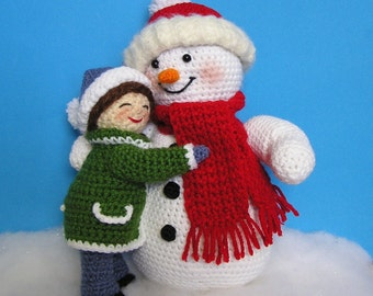Pdf Crochet Pattern LITTLE GIRL and SNOWMAN