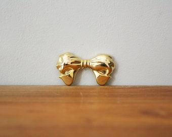 vintage 80s Big Gold Tone Bow Brooch