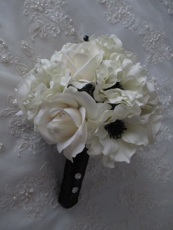 Reserved listing for Randi.....Silk Bouquet of Cream/white Silk Anemone Wedding Bridal Bouquet