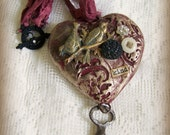 Handmade Gypsy Heart  Necklace  Mixed Media Jewelry  Altered Bird Necklace Vintage Style Necklace  Vintage Mixed Media Vintage Necklace