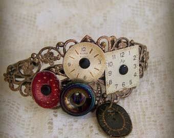 Gypsy Bracelet Vintage Altered Watch Face Bracelet Filigree  Bracelet Ornate Gypsy Bracelet Vintage Ornate Charm Bracelet Cuff Bracelet