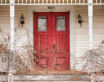 Red Doors on the Old Abandoned House, Signed Photography Print, Beautiful Cottage Decor, Color Photograph, Rustic Places