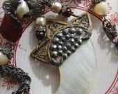 The Huntress-Antique Victorian Mother of Pearl Tiger Claw Assemblage Necklace